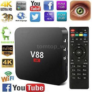 V88 Android 6.0 Smart TV Box 4K Quad-Core 8GB 3D WiFi H.265 1080P Media Player