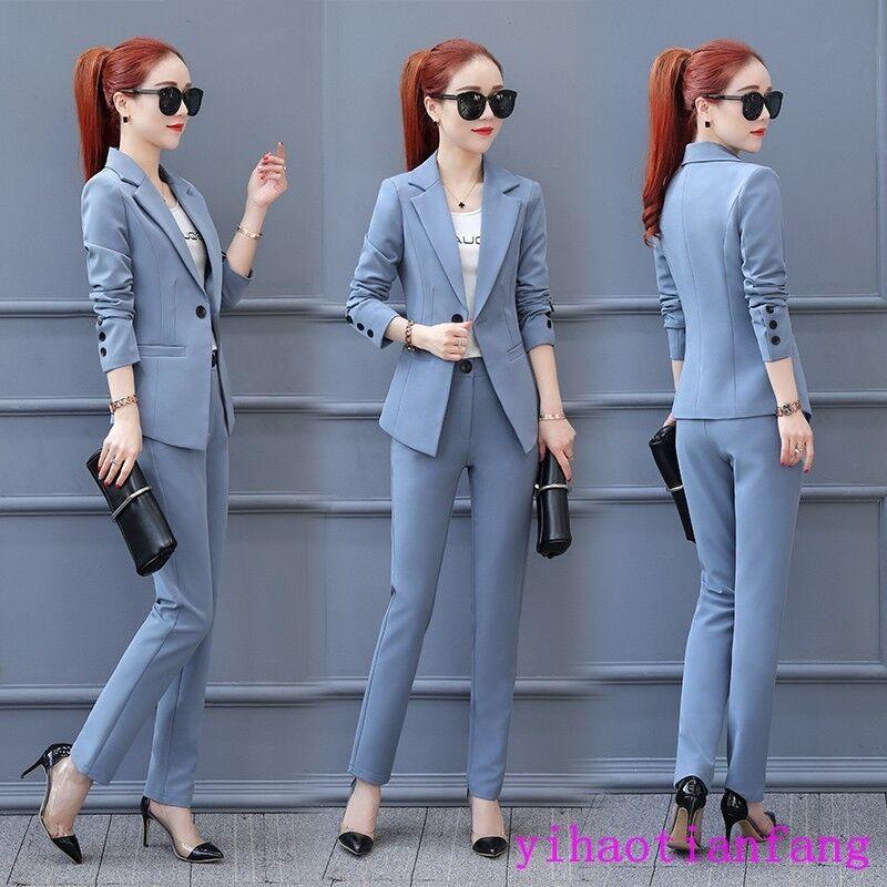 Womens Formal Pant Suit for Weddings Party 2PCS Coat Slim Office Uniform Coat