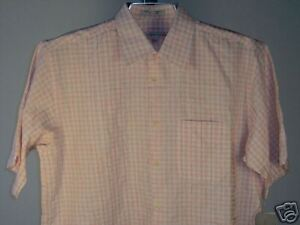 Geoffrey-Beene-SS-Shirt-White-Red-Gray-L-Mens-New-NWT