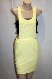 SLIDESHOW-Brand-Yellow-Overall-Apron-Style-Mini-Dress-Size-8-BNWT-TM09