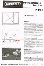 Schaltplan Grundig TK1400 Tonbandgerät ca. 1971 mit 10 Seiten -  manual