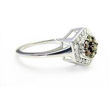 Amazing! 100% 10K White Gold Chocolate Brown Diamond Fashion Ring .50ct