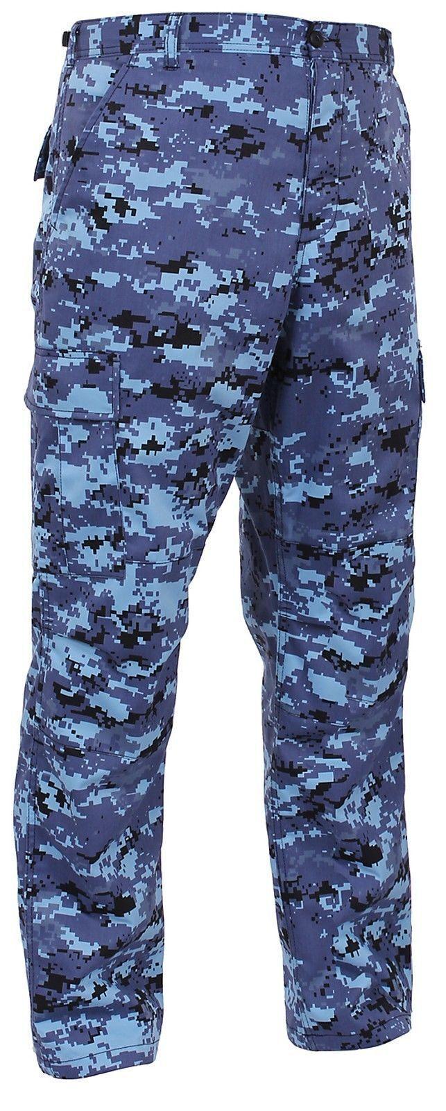 Men's Sky bluee Digital Camo BDU Cargo Pants - Tactical Military Style S - 3XL