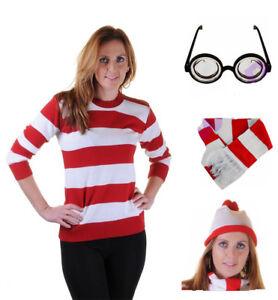 626a0ef9a Ladies Men Kids Red White Stripe Jumper Hat Nerd Glasses Scarf Fancy ...