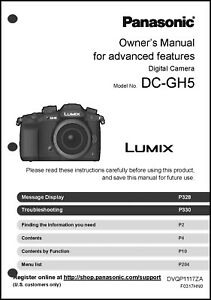 panasonic lumix dc gh5 advanced camera user guide instruction manual rh ebay com panasonic lumix camera user manual panasonic video camera user manual