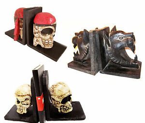 Pirate skull bookends wood gothic horror dramatic haloween theatre prop new ebay - Gothic bookends ...