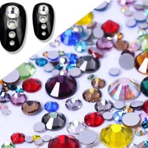 Mixed Colors Flat back Rhinestones Round Crystal Glass Nail Art Strass Chaton C1