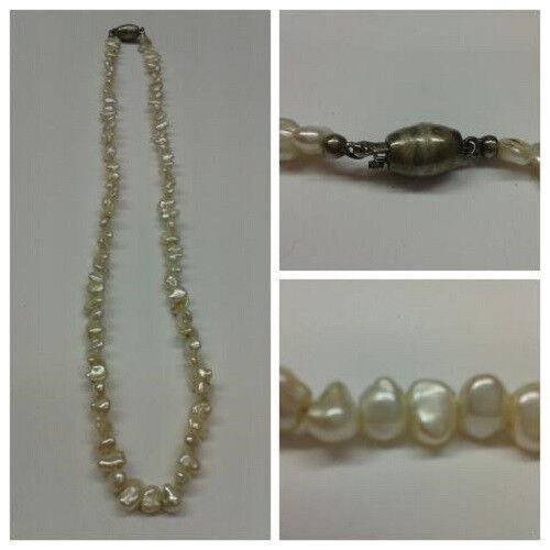 Perlenkette Süßwasserperlen 40 cm lang 835 er silververschluss