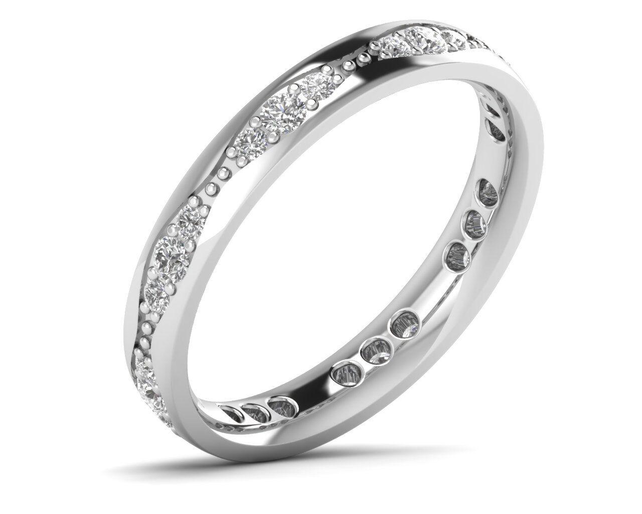 0.55ct Round Brilliant Cut Diamonds Pave Set Full Eternity Ring, gold & Platinum