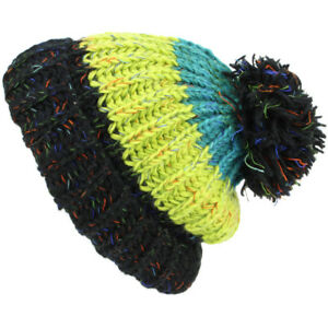 7404ba9e226 Hat Chunky Wool Cable Knit Baggy Slouch Pom Bobble Beanie Striped ...