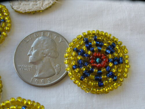 "Little seed beaded circles Flower motif Applique 1/"" 25mm costume headband tribal"
