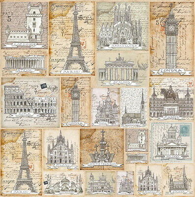 Rice paper -Postcards Cities- for Decoupage Scrapbooking Sheet Craft