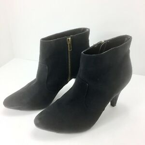 65db0d3d8afb Forever 21 Womens Black Suede Leather Booties Gold Zippers Kitten ...