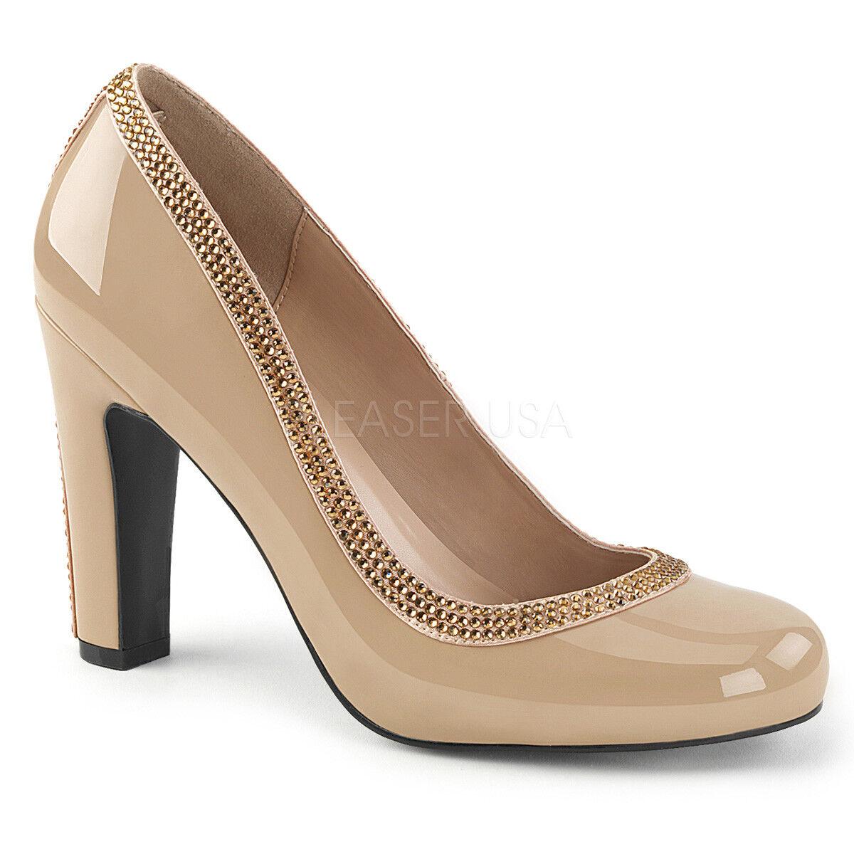 prezzi eccellenti Pleaser QUEEN-04 QUEEN-04 QUEEN-04 Donna  Cream Satin Glitter Trimmed Pumps Chunky Heel Sandals  ti aspetto