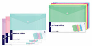 A4-Carry-Folders-4-Pack-Mix-Colours-Document-Wallet-Office-School-Stationery