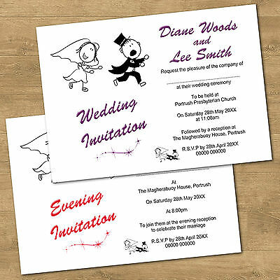 Personalised Day & Evening Funny Wedding Invitations RG2 Many Colour Options