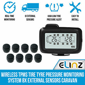 Wireless TPMS Tire Tyre Pressure Monitoring System 8x External Sensors Caravan