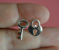 925 Sterling Silver Key Lock Stud Earrings - Lock-key Stud Earrings
