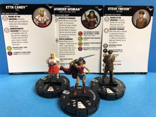 Heroclix DC Wonder Woman set WONDER WOMAN 001 w// Steve Trevor 011 Etta Candy 011