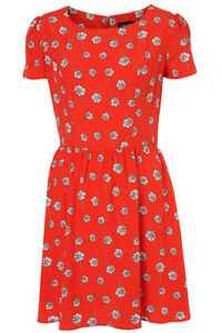 dbeacb2ae6 Topshop Red Daisy Floral White Print Short Sleeve Tea Dress Vintage ...