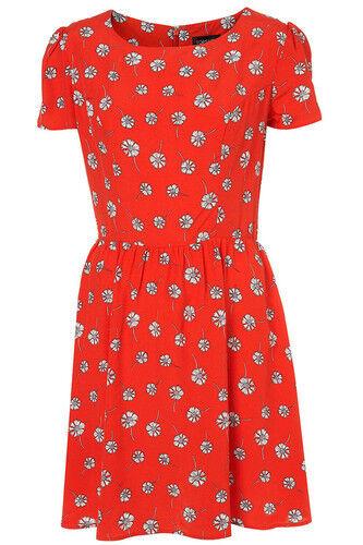 Print Daisy Tea Red Eu40 Dress White Us8 Topshop Floral Vintage 12 Uk 5IRWq