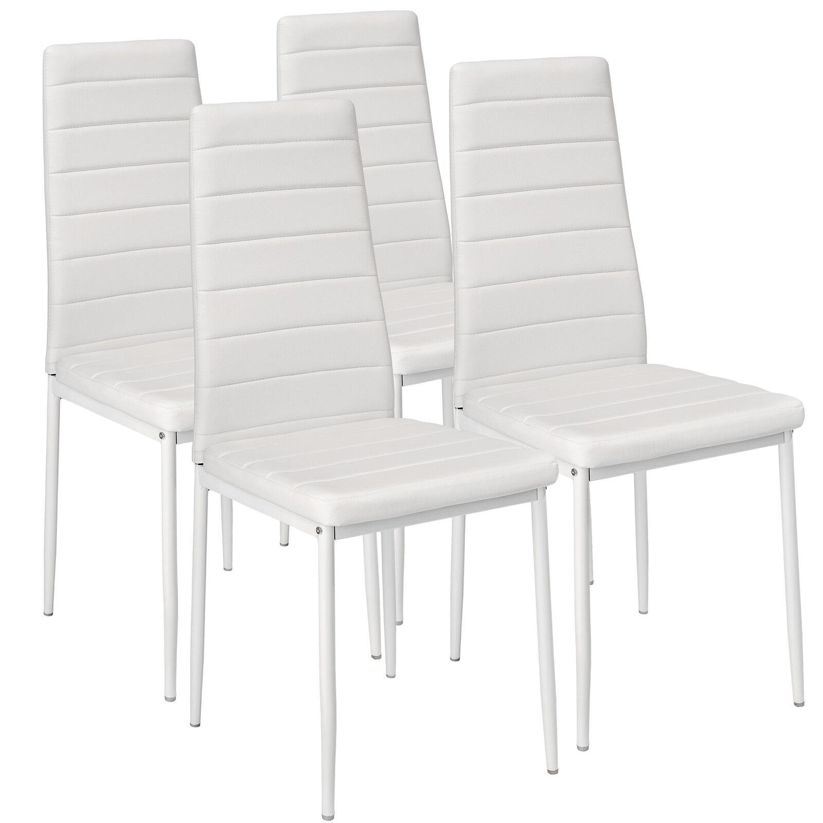 4x Sillas de comedor Juego elegantes sillas de diseño modernas cocina blanco