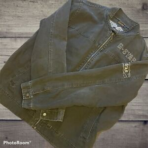 Vintage-G-Star-Raw-Grey-Denim-Zip-Up-Spellout-Jacket-Size-XL