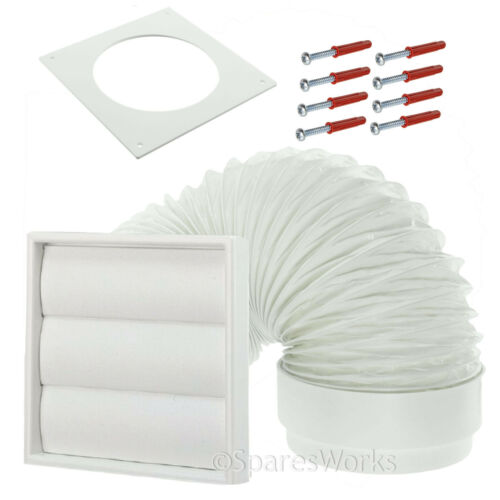"""Venting Kit For Candy Tumble Dryer External Vent Wall Outlet 4/"""" 100mm White"""