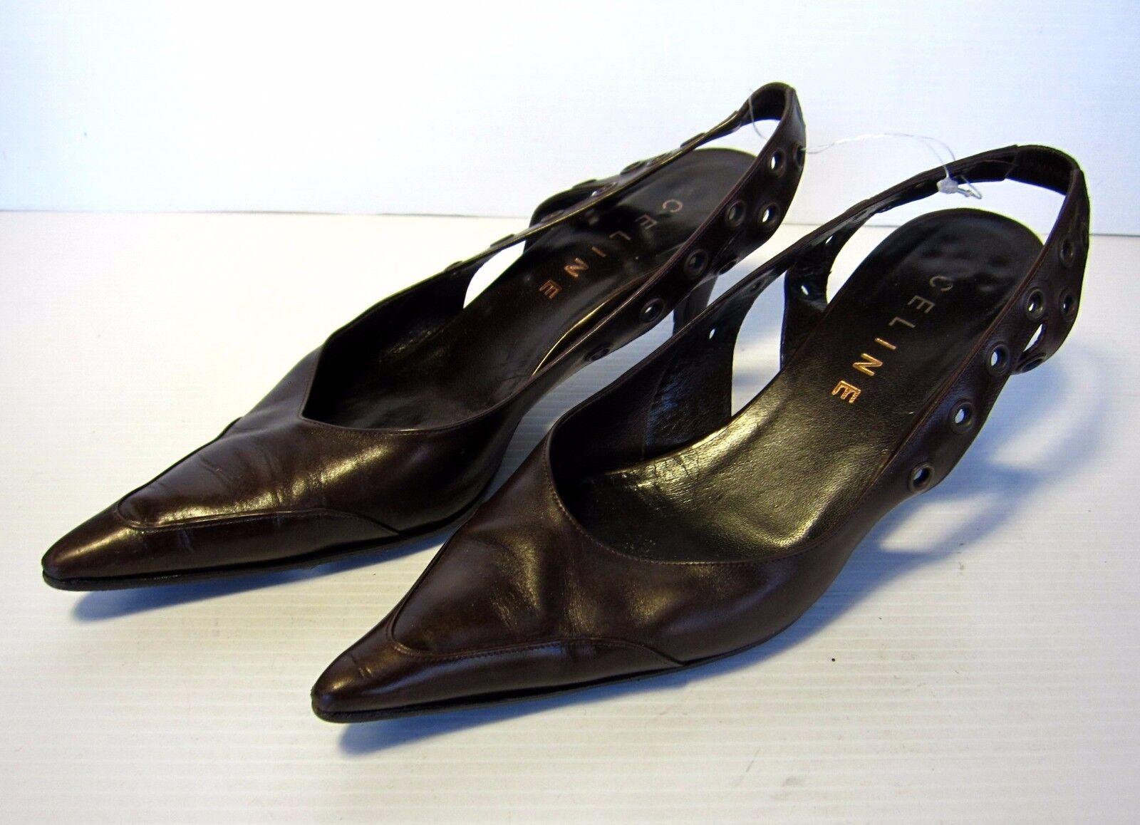 CELINE L'Arrière Talons Chaussures Marron Taille 38 1 2 bout pointu