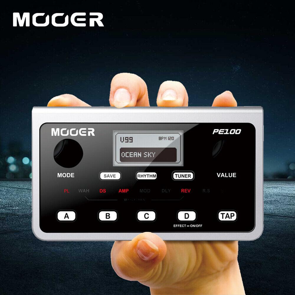 Mooer PE100 Multi-effects Guitar Effect Pedal Desktop + UK Adapter LCD Display