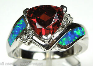 8 White Topaz /& Fire Opal Inlay 925 Sterling Silver Ring Size 6 9
