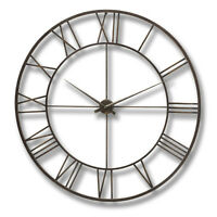 Large Industrial Style Brown Metal Skeleton Wall Clock 120 Cm