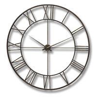 Large Industrial Style Brown Metal Skeleton Wall Clock 120 Cm
