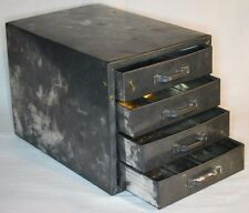 """Vtg Antique Small Metal Tin Box with 4 Drawers 6"""" x 5.75"""" x 8.25"""" Tools Pencils"""