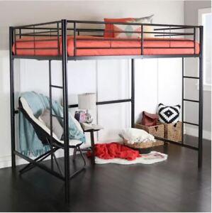 Loft-Bed-Frame-Kids-Full-Size-Bunk-Rail-Bedroom-Furniture-Adult-Black-Metal-New