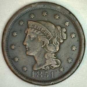 1851-Braided-Hair-Large-Cent-Copper-US-Type-Coin-Very-Fine-Genuine-Penny-VF-K26