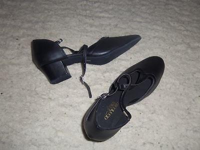 12/2 impresionante Nuevo Negro Tiras Hebilla sujetado 1 1/2 Tacón Zapatos de baile 7