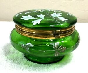 Antique-Moser-Bohemian-Green-Glass-Trinket-Box-w-Handpainted-Flowers