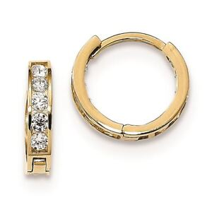 f04a758213559 Details about 14K Yellow Gold Children's 12.63 MM CZ Reversible Hinged  Huggie Hoop Earrings