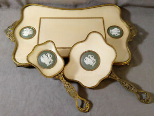 Antique-Wedgwood-Porcellane-Cameo-Vanity-Set-Brass-Filigree-Mirror-Tray-Bradh