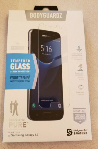 NEW IN BOX Bodyguardz PURE Premium Tempered Glass Screen Protector for Galaxy S7