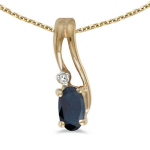 "10k Yellow Gold Oval Sapphire And Diamond Wave Pendant with 18"" Chain"