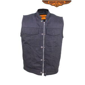 Mens Black Denim Motorcycle Vest With Zipper /& Button Snap Front Closure