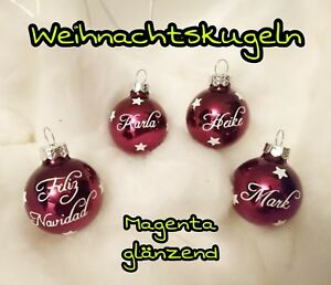 Christbaumkugeln Magenta.4x Set Namen Weihnachtskugeln Christbaumkugeln Baumkugeln Name