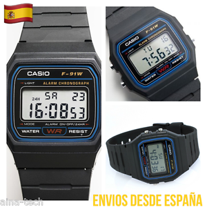 Reloj-Digital-CASIO-F-91W-Vintage-Clasico-Calendario-Cronometro-Luz-Alarma-Nuevo
