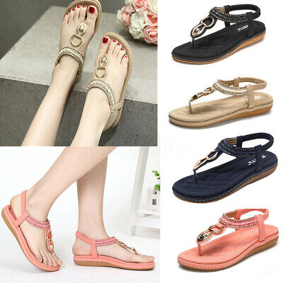 Fashion Women's Summer Sandals Thong T Strap Bohemian Shoes Beach Casual | eBay