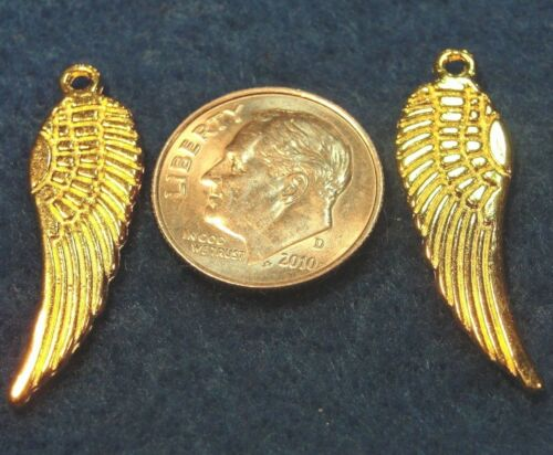 Tibetan 30mm Gold-Plated WING Angel Feather Pendant Charms Ear Drops AF73 20Pcs