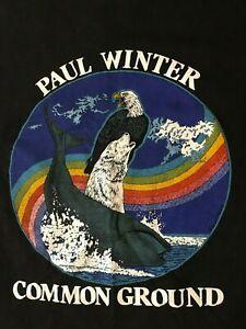 Rare-Vintage-80s-Paul-Winter-Common-Ground-T-Shirt-New-Age-Jazz-Music-Saxophone