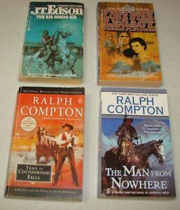 Lot-of-4-Western-Paperbacks-Ralph-Compton-Vintage-J-T-Edson-amp-The-Texans
