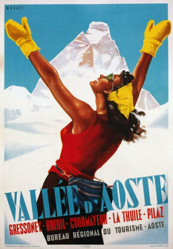 TV04 Vintage 1950/'s Italian Italy Vallee D/'Aoste Travel Poster A2 A3